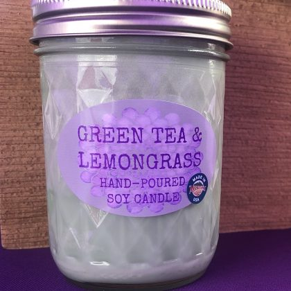 Green Tea & Lemongrass Scented Soy Candle